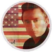 American Icon Johnny Cash Round Beach Towel