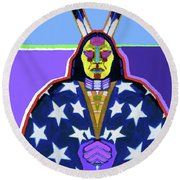 American Indian By Nixo Round Beach Towel