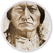 American Indian Chief Round Beach Towel
