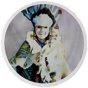 American Indian Girl Round Beach Towel