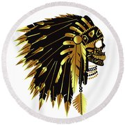 American Indian Skull Icon Background Round Beach Towel