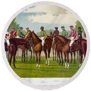 American Jockeys, 1889 Round Beach Towel
