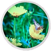 American Lady On Coreopsis Round Beach Towel