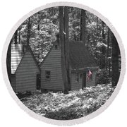 American Little House In The Woods Round Beach Towel