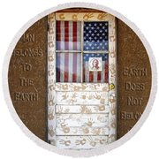 American Native Finger Prints Round Beach Towel