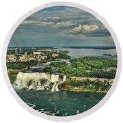 American Niagara Falls  Round Beach Towel
