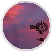 American Old Farm Water Pumping Windmill With A Sunset  Round Beach Towel