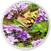Yellow Eastern Tiger Swallowtail Series Round Beach Towel