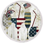 American Party Round Beach Towel