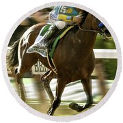 American Pharoah And Victory Espinoza Win The 2015 Belmont Stakes Round Beach Towel