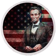 American President Abraham Lincoln 01 Round Beach Towel