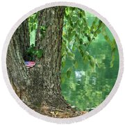American Pride By The Pond Round Beach Towel