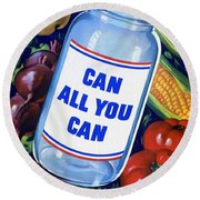 American Propaganda Poster Promoting Canned Food Round Beach Towel