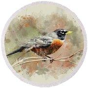 American Robin - Watercolor Art Round Beach Towel
