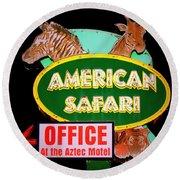 American Safari Motel Round Beach Towel