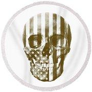 American Skull Beige Round Beach Towel