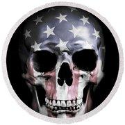American Skull Round Beach Towel