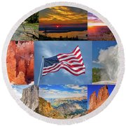 American Splendor Round Beach Towel