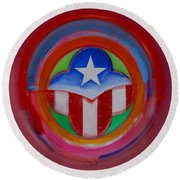 American Star Button Round Beach Towel