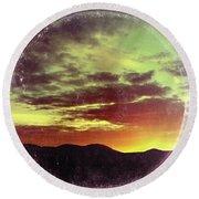 American Sunset As Vintage Album Art Round Beach Towel