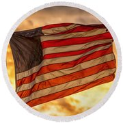 American Sunset On Fire Round Beach Towel