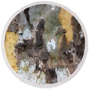 American Sycamore Bark Round Beach Towel