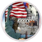 American Symbolicism Round Beach Towel