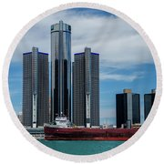 American Victory At Detroit Round Beach Towel