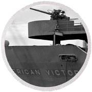 American Victory Ship Round Beach Towel