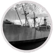 American Victory Ship Tampa Bay Round Beach Towel by David Lee Thompson