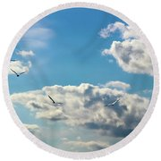 American White Pelicans Flying Round Beach Towel