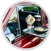 Americana - The Car Hop Round Beach Towel