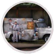 Americana -  We Sell Ice Cream Round Beach Towel by Mike Savad