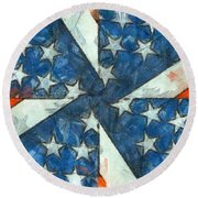 Americana Abstract Round Beach Towel