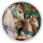 Americana - Carousel Beauties Round Beach Towel