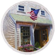 Bike And Usa Flag - Americana Series 04 Round Beach Towel