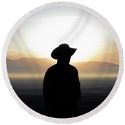 America's Cowboy At Sunrise Round Beach Towel