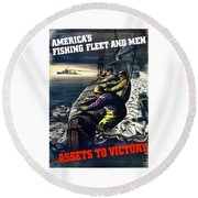 America's Fishing Fleet And Men  Round Beach Towel by War Is Hell Store