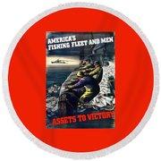 America's Fishing Fleet And Men  Round Beach Towel