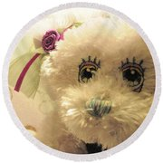 Amethyst Fairy Bear Round Beach Towel