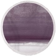 Amethyst Shoreline- Abstract Art By Linda Woods Round Beach Towel