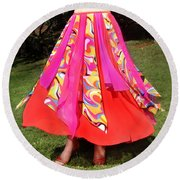 Ameynra Belly Dance Fashion - Multi-color Skirt 93 Round Beach Towel