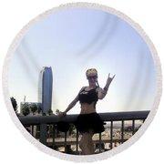 Rocker Girl Sofia Round Beach Towel