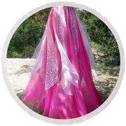 Ameynra Design - Pink-white Petal Skirt 146 Round Beach Towel