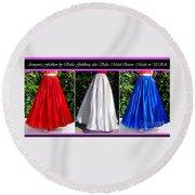 Ameynra Design. Satin Skirts - Red, White, Blue Round Beach Towel