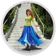 Ameynra Fashion. Petal Skirt. Model Sofia Round Beach Towel