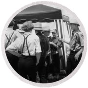 Amish Auction Day Round Beach Towel