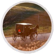 Amish Buggy Afternoon Sun Round Beach Towel