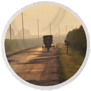 Amish Buggy And Corn Over Your Head Round Beach Towel