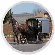 Amish Buggy And High Stepper Round Beach Towel